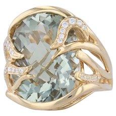 Green Amethyst Diamond Cocktail Ring 18k Yellow Gold Sz 7.25 Abstract Prasiolite