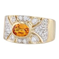 Synthetic Yellow Sapphire CZ Ring 18k Yellow Gold Size 7.25 Cocktail