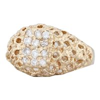 0.25ctw Diamond Cluster Ring 14k Yellow Gold Size 5 Openwork