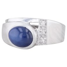 Synthetic Blue Star Sapphire Diamond Ring 14k White Gold Size 9 Oval Solitaire
