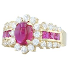 3.25ctw Synthetic Ruby CZ Halo Ring 14k Yellow Gold Size 8.25