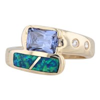 Violet CZ Opal Mosaic Bypass Ring 14k Yellow Gold Size 8 Princess Solitaire