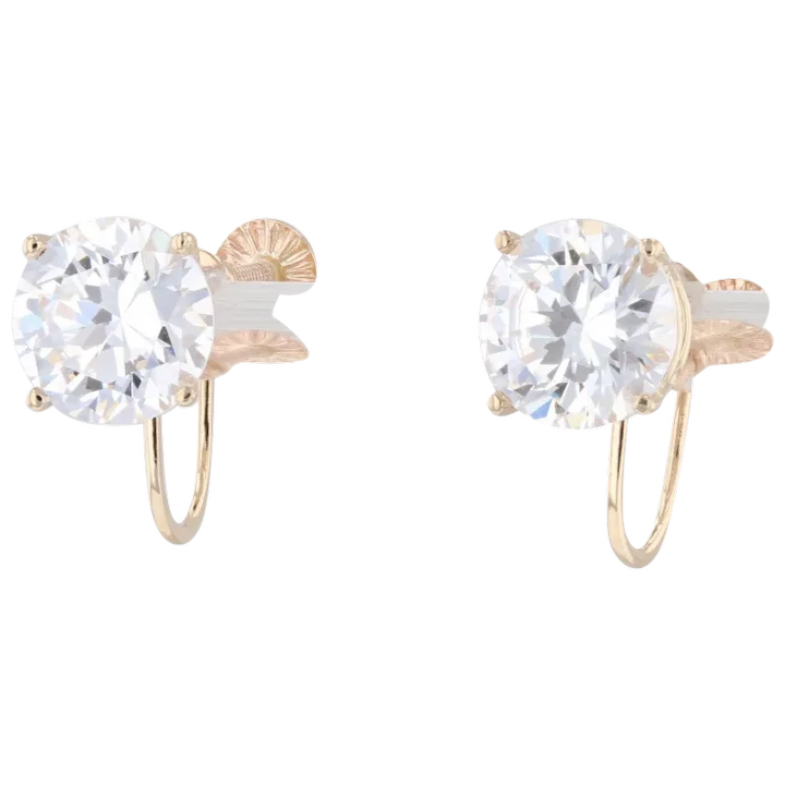Yellow and White Gold Ornate 14K Heart Stud Earrings with Screwback and Cubic Zirconia