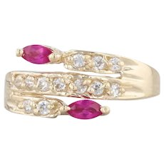 0.60ctw Synthetic Ruby Diamond Ring 14k Yellow Gold Size 8.75 Bypass Band