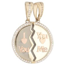 New I Love You You Love Me Gift Pendant 14k Yellow Gold Cubic Zirconias