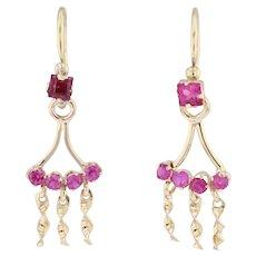 Handmade Synthetic Ruby Fringe Earrings 18k Yellow Gold Drops