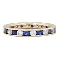1.68ctw Synthetic Sapphire CZ Eternity Ring 14k Gold Sz 6 Stackable Wedding Band