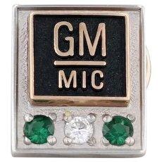 General Motors MIC Service Pin 10k Yellow White Gold Diamonds Green Beryl