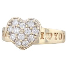 CZ Heart Ring 10k Yellow Gold 8.25 I Love You Promise Engagement Cubic Zirconia