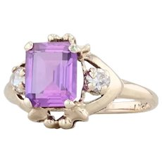 2.20ctw Synthetic Purple Sapphire CZ Ring 10k Yellow Gold Size 7.25