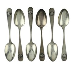 Kappa Sigma Set of 6 Spoons Sterling Silver Vintage fraternity Skull Crescent