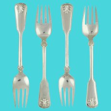 """Tiffany & Co Shell & Thread Set of 4 Fish Forks Sterling Silver 1905 7"""""""