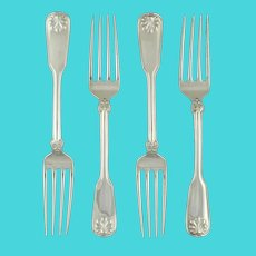 "Tiffany & Co Shell & Thread 4 Forks Sterling Silver 1905 7.5"" with Cloth"