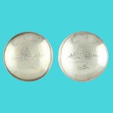 Vintage Sakazuki Bowls 1000 Silver Japanese Sake Cup Set of 3