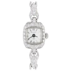 "Vintage Bulova Diamond Watch Platinum Ladies Wristwatch Quartz 7"" Art Deco 23"