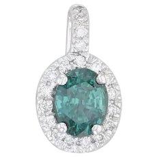 1.32ctw Color Change Alexandrite Diamond Halo Pendant - 18k White Gold GIA Cert
