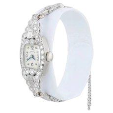 Art Deco 1.6ctw Diamond Hamilton Ladies Watch 900 Platinum Serviced Women's