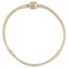 "Pandora Moments Gold Clasp Charm Bracelet 550702 14k Yellow Gold 8"" 20cm"