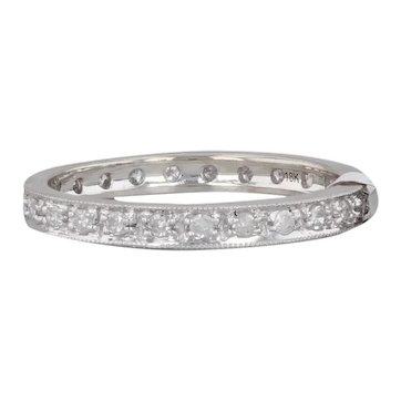 New 0.25ctw Diamond Eternity Wedding Band 18k White Gold Size 5 Stackable Ring
