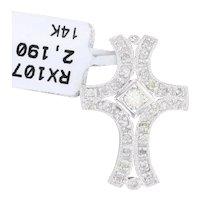New 0.27ctw Diamond Cross Pendant 14k White Gold Religious Jewelry