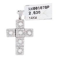 New 1.1ctw Diamond Cross Pendant 14k White Gold Religious Jewelry