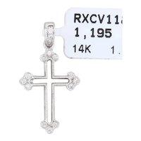 New Diamond Cross Pendant 14k White Gold Openwork Religious Jewelry
