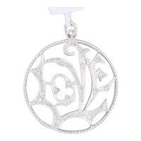 New Abstract Love Diamond Circle Pendant 14k White Gold Drop Gift
