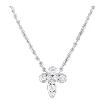 "New Diamond Stationary Pendant Necklace 18k White Gold 16.25"" Cable Chain"