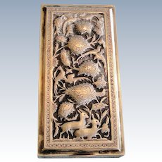 Antique signed finely decorated Persian solid 875 silver covered box birds & animals of paradise 330 gr 1900