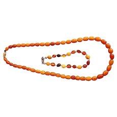 Genuine vintage Butterscotch egg-yolk Baltic amber necklace and bracelet 16.3 Grams