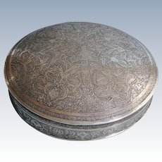 Antique Large signed finely decorated Persian 875 solid silver Round covered box birds & animals of paradise 546 gr 1900