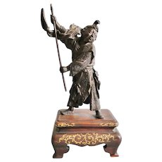Exquisite antique signed Japanese bronze figure of a boy on gold lacquer stand - Meiji period, 1880