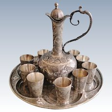 Antique prestigious Persian 84 silver Liqueur drinking set – tray, 10 shot cups and pitcher, signed, Isfahan 1900