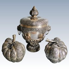 Huge, regal group of Burmese Hindu silver 2 pumpkin-shaped master Betel boxes and centerpiece early 20th century