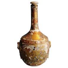 Antique fine quality Japanese Satsuma pottery raised gold & figural decor bottle Meiji 24 cm tall