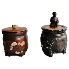 2 Antique Japanese Tobacco or Tea jars in bamboo, wood with coral, agate and deer antler inlays Edo-Meiji 1830-1860