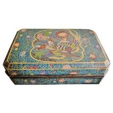 Huge, antique Japanese cloisonne enamel covered box Phoenix signed Edo-Meiji 1850