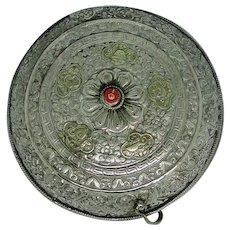 Antique unusual Tibet Chinese silver & gilt covered round box auspicious symbols 1870