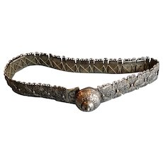 Fine antique heavy Caucasus Russian solid silver & Niello enamel belt Kindjal  1850 646 grams