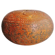 Antique, very rare Museum quality Peruvian Gourd deeply carved figural decor 1850