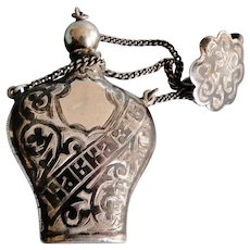Fine Russian 84 silver (875/1000) & black Niello enamel scent bottle / flask with FOB pending chain 1900