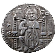 Rare superbly detailed Byzantine solid silver Basilikon coin 14th century