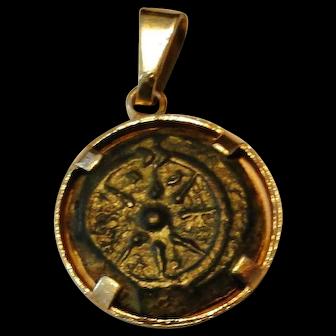 SUPER XXF Judaea widows mite Coin Alexander Jannaeus 103-76 BC. 14K GOLD PENDANT