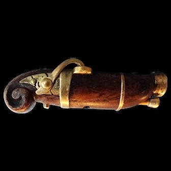 Antique Japanese TEPPO Netsuke shaped as Match-lock gun late Meiji period 1900