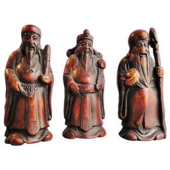 Antique signed & finely carved set of 3 wood figures the Chinese star god Fu, Shu & Lu Qing dynasty 1900