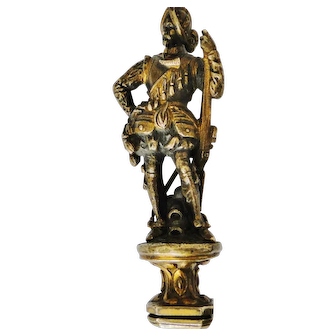 Rare Exceptional quality, highly elaborate French bronze & gilt Seal armed Musketeer 1800