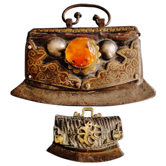 2 Antique Tibetan Chinese strike lighters large amber cabochon silver inlay early 19th century