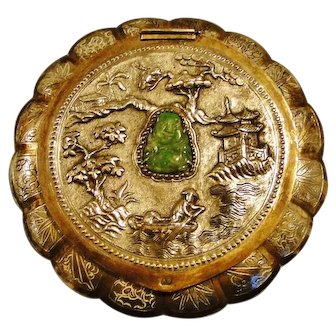 Antique, rare quality Chinese export silver Jade inset compact, figural decor, signed 1900