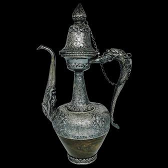 Antique, Museum quality Tibetan solid silver & stone tea pot - circa 1820-1850