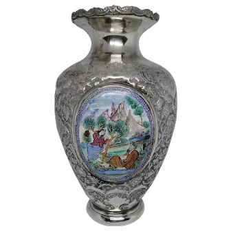 Extra rare, very large Persian 84 silver & enamel plaques`vase finely chased birds Qajar 1890 1150 G